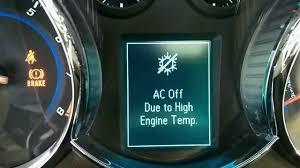 chevy cruze engine light chevy cruze ac off due to high engine temp youtube