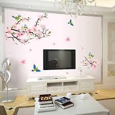compare prices on blossoming flower wall sticker online shopping 2016 elegant flower wall stickers graceful peach blossom birds wall stickers furnishings romantic living room decoration