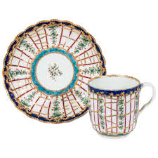 first period worcester porcelain hop trellis cup and saucer for