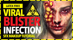 theatrical halloween makeup viral blister infection sfx makeup tutorial youtube