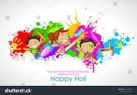 illustration kids playing holi color pichkari stock vector
