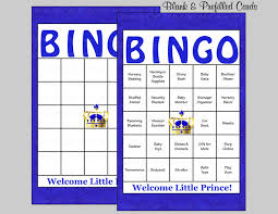 60 prince baby shower bingo cards 60 prefilled bingo cards