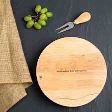 engraved cheese board personalised boho style engraved cheese board set by dust and