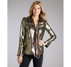 metallic blouse lyst derek lam gold metallic silk blend tie neck blouse in metallic