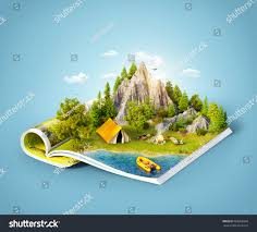 Forest Green by Mountain Forest Green Meadow Camp Tent Stock Illustration