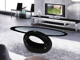 Black Glass Tables Cairo Oval Black High Gloss Clear Glass Coffee Table Homegenies