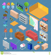 isometrische möbel isometrische wohnzimmer planung vektor