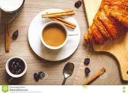 Wooden Table Top View Sweet Breakfast With Coffee Croissants On Wooden Table Top View