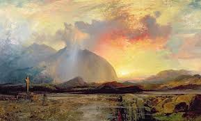 Old Rugged Sunset Vespers At The Old Rugged Cross Painting By Thomas Moran