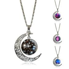 glass star pendant necklace images Silver jewelry galaxy star glass cabochon art image pendant jpg