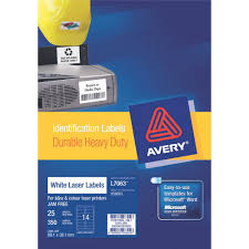 4 Per Sheet Label Template by Avery Heavy Duty Laser Labels White 25 Sheets 14 Per Page