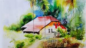 watercolor painting tutorial for beginners landscape village