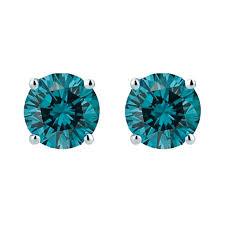 blue diamond stud earrings sky blue diamond studs 1 2ct steven singer jewelers