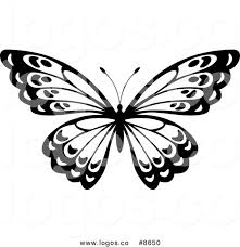 royalty free clip vector logo of a black and white butterfly