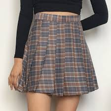 plaid skirt 2017 black friday grey kawaii plaid skirt kokopiecoco