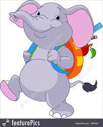 cute elephant go to illustration