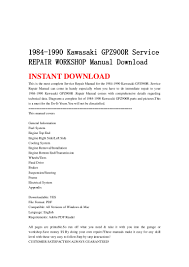 1984 1990 kawasaki gpz900 r service repair workshop manual download