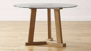 teak reclaimed wood dining table with 48 round glass top crate