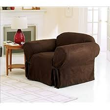 arm chair cover chezmoi collection soft micro suede solid chocolate