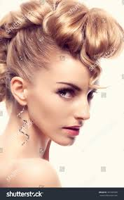 fashion mohawk hairstyle natural makeup fashion stock photo