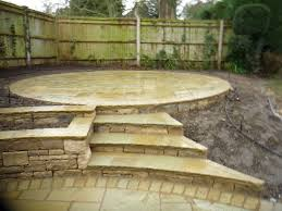 Building A Raised Patio Indian Stone Garden Steps And Circular Raised Patio Landscape