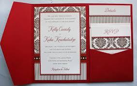 Design Wedding Programs Red Wedding Invitations Red Pocket Invita Floral Pattern Beige