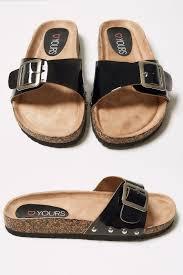 cork effect footbed flat mule sandals in true eee fit
