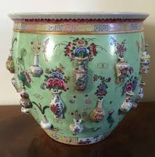 antique 19th century chinese export porcelain fish bowl or planter