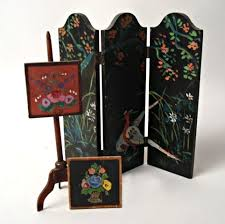 Hand Painted Fireplace Screens - antique tynietoy copper andirons and fireplace screen tynietoy