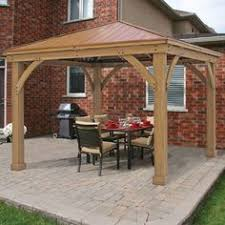 Costco Awnings Retractable Costco 1200 Cedar Wood 12 U0027 X 12 U0027 Gazebo With Aluminum Roof By