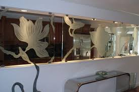 handmade kitchen carved glass divider screen by la mancha glass