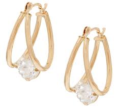 14k gold hoop earrings diamonique 2 00 cttw split hoop earrings 14k gold page 1 qvc