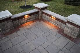 Paver Patio Edging Options Paver Patio With Accent Band Seating Walls And Led Outdoor