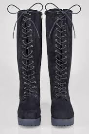 boots uk wide fit black knee high lace up heeled boot in eee fit 4eee 5eee 6eee