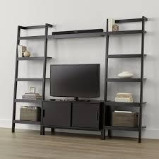 Crate Bookcase Sawyer Mocha Media Stand With Media Shelf And Two 24 5 U0027 U0027 Bookcases