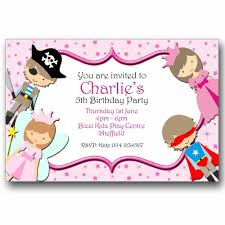 10 personalised birthday party invitations fairy princess pirate