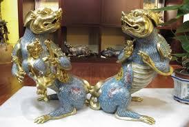 gold foo dogs free shipping 100 bronze 24k gold cloisonne foo dog