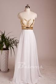 white wedding dress with gold beading white prom dress with beaded and gold sequins bodice