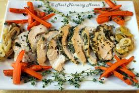 herb crusted turkey breast with leeks n carrots