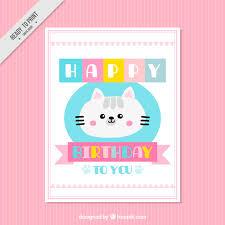 lovely kitten birthday card vector free download