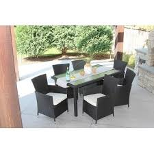 7pc Patio Dining Set 7pc Outdoor Black Wicker Patio Dining Set Rec D Rectangle Free