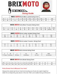 youth motocross boots size chart richa brand brix moto