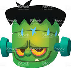 halloween cartoon monster face avatar or icon of vector monster
