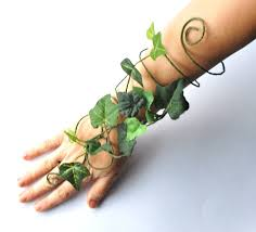 woodland fairy halloween costume poison ivy arm cuff slave bracelet green fairy arm cuff whimsical