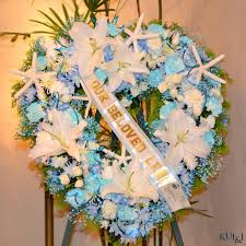tiffany blue funeral heart wreath kui u0026 i florist llc hilo