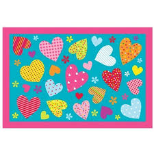 children area rugs homemusthaves turquoise pink multi color hearts flowers kids girls