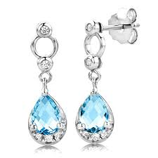 byjoy jewellery byjoy 925 pear shaped sky blue topaz dangle earrings jewellery