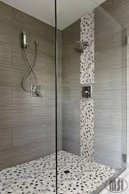 taupe tile shower in brown color with horizontal mosaic tiles