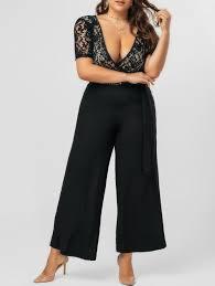 plus size jumpsuit 2018 lace panel bowknot plus size jumpsuit black xl in plus size