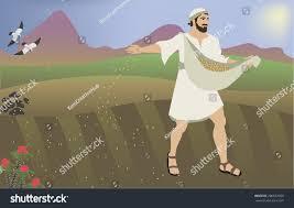 biblical illustration parable sower seeds based stock vector